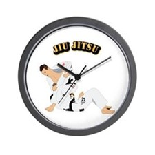 Jiu Jitsu Fighter With Text Wall Clock