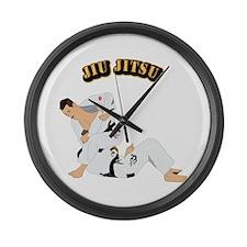 Jiu Jitsu Fighter With Text Large Wall Clock