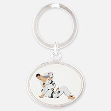 Jiu Jitsu Fighter Oval Keychain