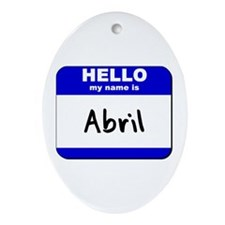 hello my name is abril  Oval Ornament