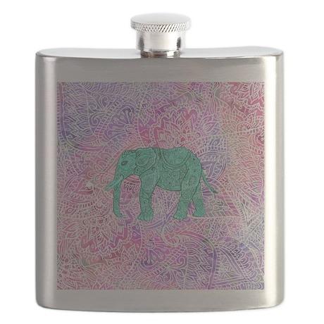 Teal Tribal Paisley Elephant Purple Henna Pa Flask