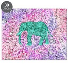 Teal Tribal Paisley Elephant Purple Henna P Puzzle