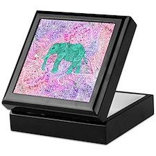 Teal Tribal Paisley Elephant Purple H Keepsake Box