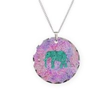 Teal Tribal Paisley Elephant Necklace Circle Charm