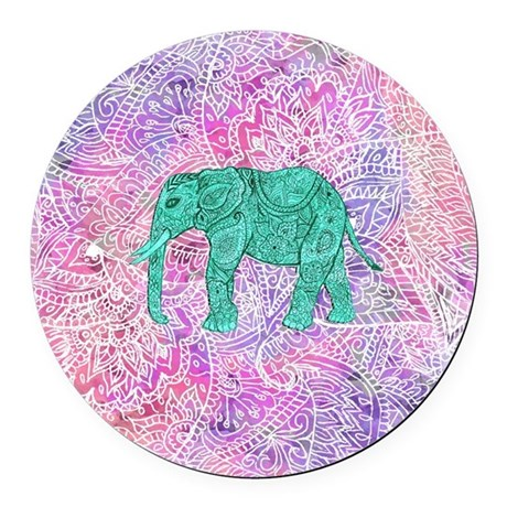 Teal Tribal Paisley Elephant Purp Round Car Magnet