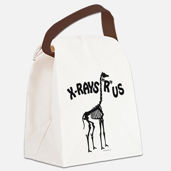 Xrays R us, black on white Canvas Lunch Bag