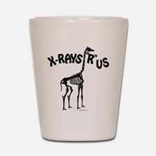 Xrays R us, black on white Shot Glass
