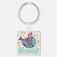 Whimsical Whale Square Keychain