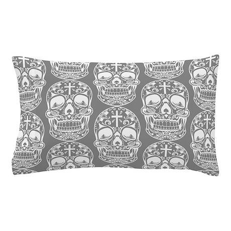 Sugar Skull Grey Pillow Case