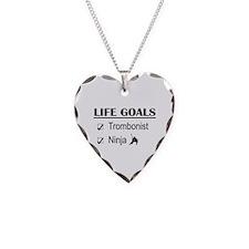 Trombonist Ninja Life Goals Necklace Heart Charm