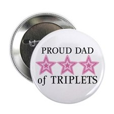 "Dad of Triplets (Girls) Stars 2.25"" Button (10 pac"