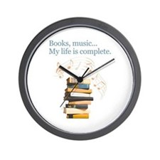 Books and music Wall Clock