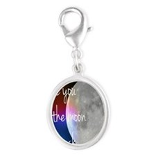 I love you to the moon and back Silver Oval Charm