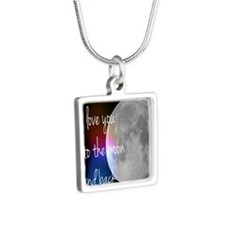 I love you to the moon and Silver Square Necklace