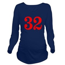 RED #32 Long Sleeve Maternity T-Shirt
