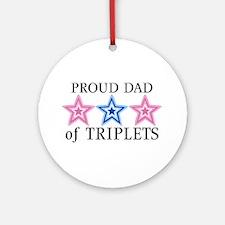 Dad of Triplets (Girls, Boy) Stars Ornament (Round