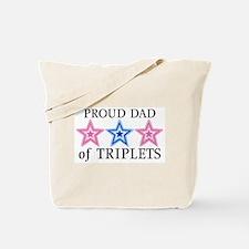 Dad of Triplets (Girls, Boy) Stars Tote Bag