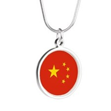 China Flag Silver Round Necklace
