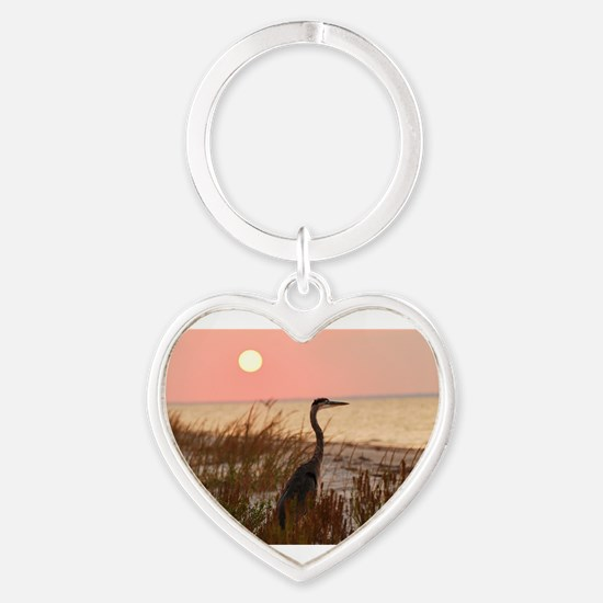 Heron at Sunset Heart Keychain