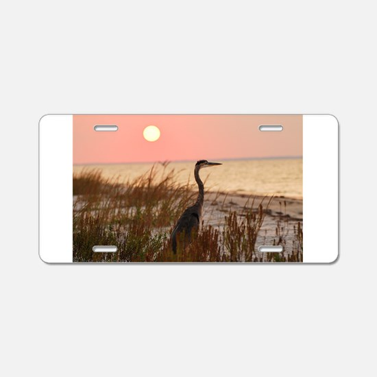 Heron at Sunset Aluminum License Plate
