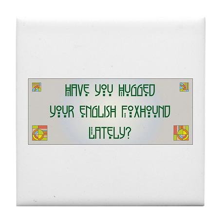 Hugged Foxhound Tile Coaster
