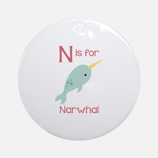 N Is For Narwhal Ornament (Round)