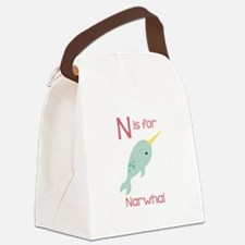 N Is For Narwhal Canvas Lunch Bag