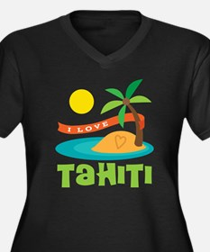 I Love Tahit Women's Plus Size V-Neck Dark T-Shirt