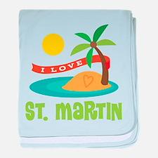 I Love St. Martin baby blanket