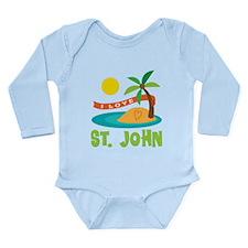 I Love St. John Long Sleeve Infant Bodysuit