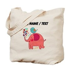 Custom Red Elephant And Bird Tote Bag