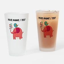 Custom Red Elephant And Bird Drinking Glass
