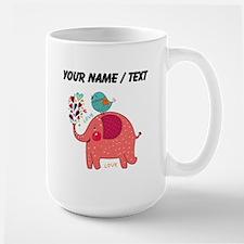 Custom Red Elephant And Bird Mugs