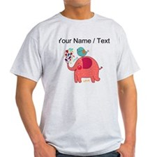 Custom Red Elephant And Bird T-Shirt