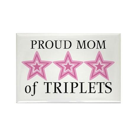 Mom of Triplets (Girls) Stars Rectangle Magnet