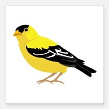 """American Goldfinch Square Car Magnet 3"""" x 3"""""""