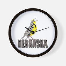 NEBRASKA Meadowlark Wall Clock