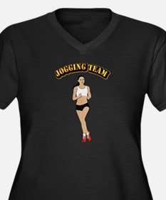 Jogging Team Women's Plus Size V-Neck Dark T-Shirt