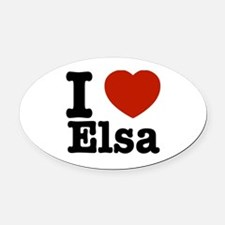 I love Elsa Oval Car Magnet