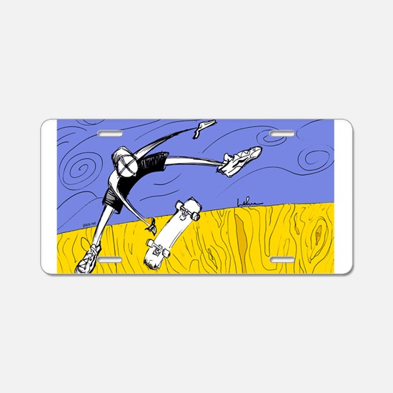 Half Pipe Skateboarder Aluminum License Plate
