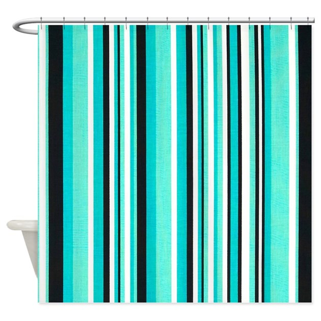 light blue stripe shower curtain by stripstrapstripes. Black Bedroom Furniture Sets. Home Design Ideas