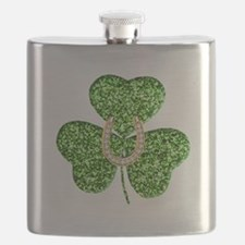 Glitter Shamrock And Horseshoe Flask