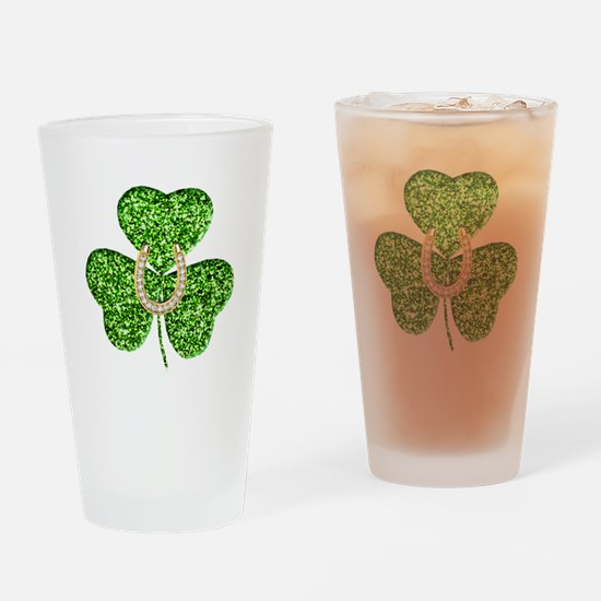 Glitter Shamrock And Horseshoe Drinking Glass