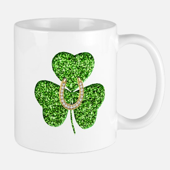 Glitter Shamrock And Horseshoe Mugs