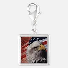 Eagle Flag Silver Square Charm