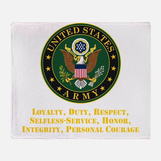 U.S. Army Values Throw Blanket