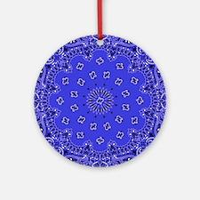 Indigo Paisley Bandana Scarf Wester Round Ornament