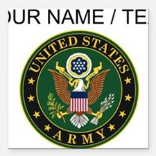 "Custom U.S. Army Symbol Square Car Magnet 3"" x 3"""