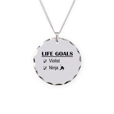 Violist Ninja Life Goals Necklace Circle Charm