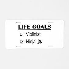 Violinist Ninja Life Goals Aluminum License Plate